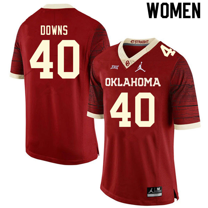 Women #40 Ethan Downs Oklahoma Sooners College Football Jerseys Sale-Retro